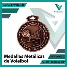 Entregamos sus Medallas en Medellin a Domicilio o Despachamos a Todo el Pais. Ref. M71BROENV-MET Ø 6cms. Su Cotización en 20 Min. Sin Compromiso 20 Min, Pocket Watch, Accessories, Licence Plates, Volleyball, Basketball, Bronze, Engagement, Sports