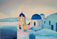 Greece Original watercolor painting on paper 300 gr/m2
