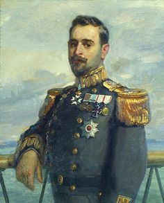 Portrait of Greek Rear Admiral Sofoklis Dousmanis (1910s) by Georgios Roilos, Greek painter 1867-1927