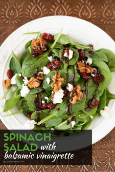 lindasinklings: spinach salad with goat cheese. (via Spinach Salad with Goat Cheese, Craisins and Balsamic Vinaigrette- Garnish with Lemon Spinach Goat Cheese Salad, Simple Spinach Salad, Spinach Salad Recipes, Arugula Salad, Salads With Goat Cheese, Quinoa, Balsamic Vinaigrette Recipe, Fresco, Side Salad