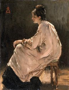 Alfred Stevens - Seated Girl  There is something wonderful about white clothes in oil paint