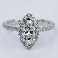 Marquise Diamond Halo Engagement Ring (1.03 ct.)