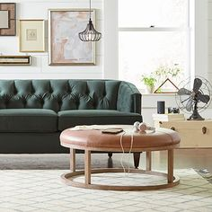 Stone & Beam Norah Leather and Wood Round Ottoman, Saddle Brown: Kitchen & Dining Round Leather Ottoman, Brown Leather Chairs, Round Ottoman, Farmhouse Living Room Furniture, Ottoman In Living Room, Wood Rounds, Space Saving Furniture, Living Room Inspiration