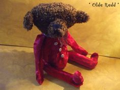 Primitive Vintage Style Bear made of Red Faux Fur. $94.00, via Etsy. #handmade