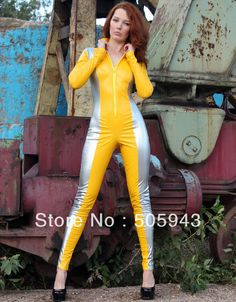 >> Click to Buy << Free Shipping DHL Custom Made Adult Sexy Full Body Yellow&Silver PVC Zentai Catsuit Fancy Dress Zentai Suit For Halloween Party #Affiliate