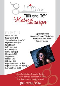 Advertisement for a hair salon | Brochures, Flyers, Advertisments ...