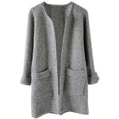 Grey Melange Open Front Cardigan