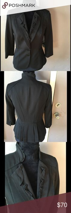 Suit jacket Black 3/4 sleeve jacket with ruffle detail black house white market Jackets & Coats Blazers