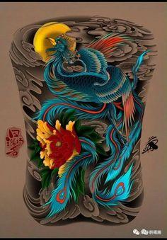 Koi Tattoo Design, Japan Tattoo Design, Phoenix Tattoo Design, Japanese Back Tattoo, Japanese Dragon Tattoos, Japanese Tattoo Designs, Full Back Tattoos, Arm Tattoos For Guys, Lion Head Tattoos