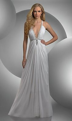 Bari Jay Shimmer 59400 Prom Dress Plunging v neck with beaded trim and  waist shirred bust Grecian draped skirt beaded keyhole with cutouts Fabric  Sheer ... 110f43dd9