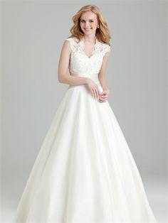 Romantic A-line V-neckline Sash Covered Back Lace Organza Wedding Dress WD2002 www.tidedresses.co.uk $339.0000