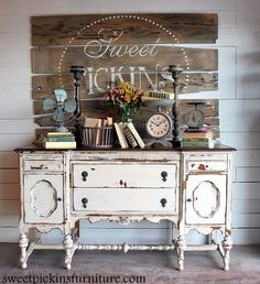 Love the distressed buffet minus the scales.