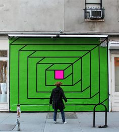 Working with bold isometric forms created from bright neon tape, New York artist Aakash Nihalani transforms outdoor spaces into playful installations.