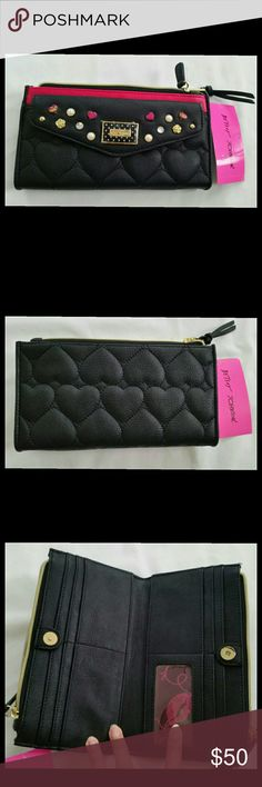FINAL PRICE! NWT Betsey Johnson bifold wallet FINAL PRICE!  This wallet by Betsey Johnson is gorgeous!  The black and pink exterior has a quilted design and comes with a functional compartment with button closure. The main compartment has two large zip pockets for cash and change, and card slots on the interior.  NWT. Never been used. Betsey Johnson. Betsey Johnson Bags Wallets