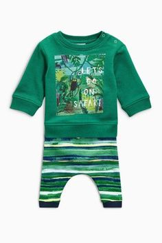 Buy Multi Safari Slogan Two Piece Set (0mths-2yrs) from the Next UK online shop