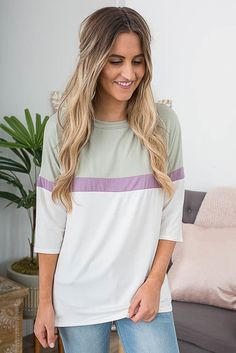 3/4 Sleeve Colorblock Top - Off White/Olive/Purple