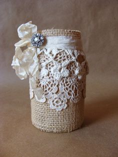 Rustic Burlap Lace Altered Jar with Rhinestone Brooch on Etsy, $14.50