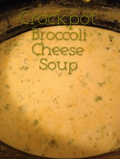 Crockpot Broccoli Cheese Soup 1 can cream of chicken 1 can broccoli cheese soup 2 lb Velveeta cheese (cut into cubes) 3 cups milk 2 10oz bags frozen broccoli cuts Mix soup and milk in crockpot. Stir in broccoli. Add Velveeta cheese. Cook on LOW 3-5 hours. You can eat the soup with saltine crackers or bread. Or you can just enjoy it all by itself. This is so easy and seriously delicious! I hope you enjoy! Pam