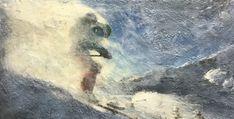 Deep Powder, encaustic ski painting by Lee Anne LaForge Bear Paintings, Cute Paintings, Outdoor Rink, Sports Painting, Cast Glass, Encaustic Painting, Canadian Artists, Winter Landscape, Canoe