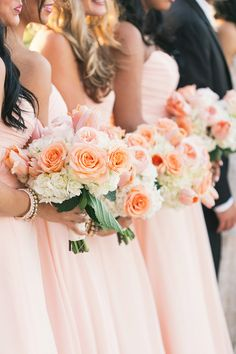 Peach bouquets. Botanica. Photography: K And K Photography - kandkphotography.com Read More: http://www.stylemepretty.com/little-black-book-blog/2014/07/10/peach-gold-lakewood-ranch-wedding/