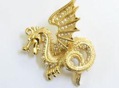 Mystical vintage Winged Griffin faux Pearl Designer Brooch