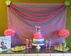 Sofia the First, The Floating Palace Party Pink And Gold Birthday Party, It's Your Birthday, 4th Birthday Parties, Girl Birthday, Birthday Ideas, Princess Sofia Party, Princess Birthday, Sofia The First, Party Themes
