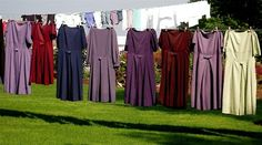 love the colors! Amish dresses on clothesline