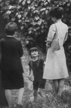 Signora Audrey Hepburn Dotti photographed with her son Luca and Signora Jolanda de Mattei (Luca's nanny) in Rome (Italy), in May 1974. Audrey was wearing: • Dress: Givenchy (of fine wool, of his...