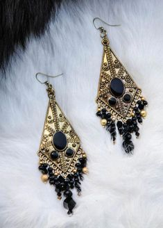 Items similar to Large Gold and Black Dangle Earrings on Etsy Salt Water Cleanse, Overnight Colon Cleanse, Smudge Sticks, Dangle Earrings, Dangles, Delicate, Crystals, Gold, Jewelry