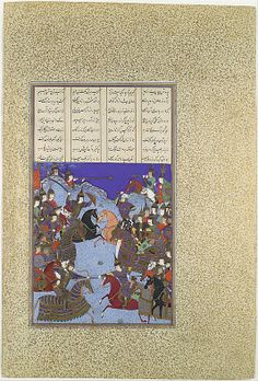 """The Night Battle of Kai Khusrau and Afrasiyab"", Folio from the Shahnama (Book of Kings) of Shah Tahmasp Artist: Painting attributed to Bashdan Qara (active ca. 1525–35) Date: ca. 1525–30 Geography: Iran, Tabriz Medium: Opaque watercolor, ink, silver, and gold on paper Dimensions: Painting: H. 12 1/8 x W. 7 1/4 in. (H. 30.8 x W. 18.4 cm) Entire Page: H. 18 9/16 x W. 12 9/16 in. (H. 47.1 x W. 31.9 cm) Metropolitan Museum of Art 1970.301.48"