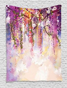 Amazon.com: Ambesonne Watercolor Flower Decor Collection, Ivies and Vines Flowers in Soft Colors Summer Garden Print, Bedroom Living Kids Girls Boys Room Dorm Accessories Wall Hanging Tapestry, Navy Mustard: Home & Kitchen