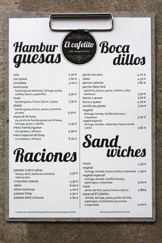 diseño de imagen corporativa logotipo, carta, para un restaurante y café bistró vintage en Hinojedo Cantabria Burger Restaurant, Restaurant Menu Design, Restaurant Identity, Restaurant Ideas, Cafe Bar, Cafe Bistro, Cafeteria Menu, Coffee Chart, Vintage Coffee Shops