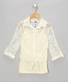Take a look at this Natural Tie-Front Button-Up by Beautees on #zulily today!