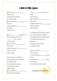 A Dios le pido, una canción de Juanes para practicar el presente de subjuntivo.