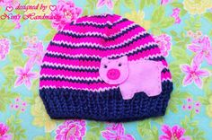 Knit  GIRLS Navy with Pinks PIG Hat girls  by NinisHandmades