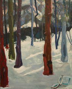 """EvaSchlitzer """"Wald I"""", 100 x 80, Acryl auf Leinen, 2013"""