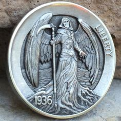 "CHRIS ""DECHRISTO"" DEFLORENTIS HOBO NICKEL - YOUNG'S ANGEL - 1936 BUFFALO NICKEL"