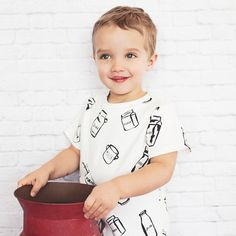 Milk Bottle Drop Back Tee (White) || organic baby kid's children clothing modern minimalist chic soft new eco-friendly natural made in the usa breastfeeding