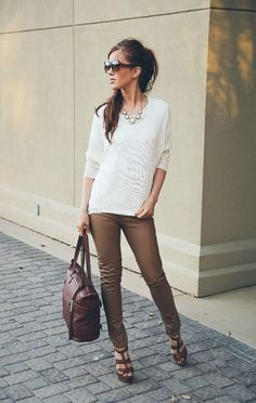Choies Brown PU Skinny Pants with white blouse and leather strappy wedges Blazer Jeans, What I Wore, What To Wear, Autumn Winter Fashion, Spring Fashion, Moda Casual, Work Attire, Shorts, Everyday Fashion