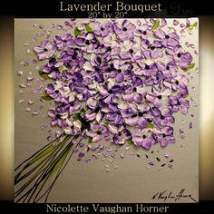 Palette knife floral painting Lavender Bouquet by Nicolette Vaughan Horner