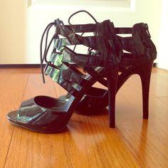 Black Steve Madden heels Black patent leather Steve Madden open toe heels. Zippers on the heels. Laces on the front. Brand new, never been worn Steve Madden Shoes Heels