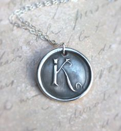 Letter K wax seal monogram charm necklace made by DreamofaDream