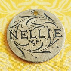 Victorian 1875 Love Token Nellie w Leaves Engraved Seated Liberty Dime Charm from A Genuine Find