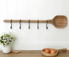 Wooden Spoon Hook Rack - Wall hook racks, coat rack, wicker and rattan baskets and memo boards Home Organization, Coat Rack Wall, Home Accessories, Interior, Country Style Interiors, Wall Hook Rack, French Decor, Home Decor Online, Home Decor