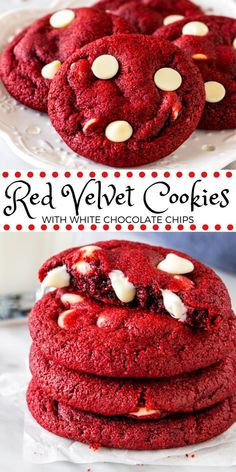 These red velvet chocolate chip cookies have the most delicious red velvet flavor and are filled with white chocolate chips. They turn out soft and chewy with a beautiful red color makes them perfect Chocolate Chip Shortbread Cookies, Chocolate Chip Recipes, White Chocolate Chips, Red Velvet White Chocolate Chip Cookies Recipe, Red Velvet Cookie Recipe, Chocolate Ganache, Easy Cookie Recipes, Sweet Recipes, Dessert Recipes
