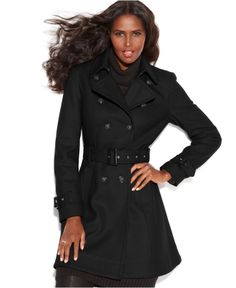 INC International Concepts Wool-Blend Belted Trench Coat - Coats - Women - Macy's
