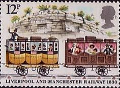 150th Anniversary of Liverpool and Manchester Railway 12p Stamp (1980) First and Second Class carriages passing through Olive Mount Cutting