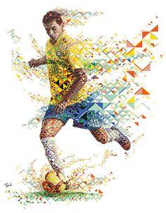 A fractal mosaic portrait of the Brazilian footballer Paulo Henrique Ganso for Gatorade Evoluciona advertising campaign.  - Charis Tsevis
