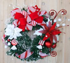 Christmas wreath Candy Cane Holiday wreath by SignsStuffnThings, $115.00
