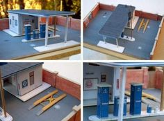 German Service Station Paper Model - by Franz Böhmer - via Kartonmodellbau        A cool paper model of a German Service Station in HO scale (1/87 scale), created by designer Franz Böhmer and originally posted at Kartonmodellbau website.